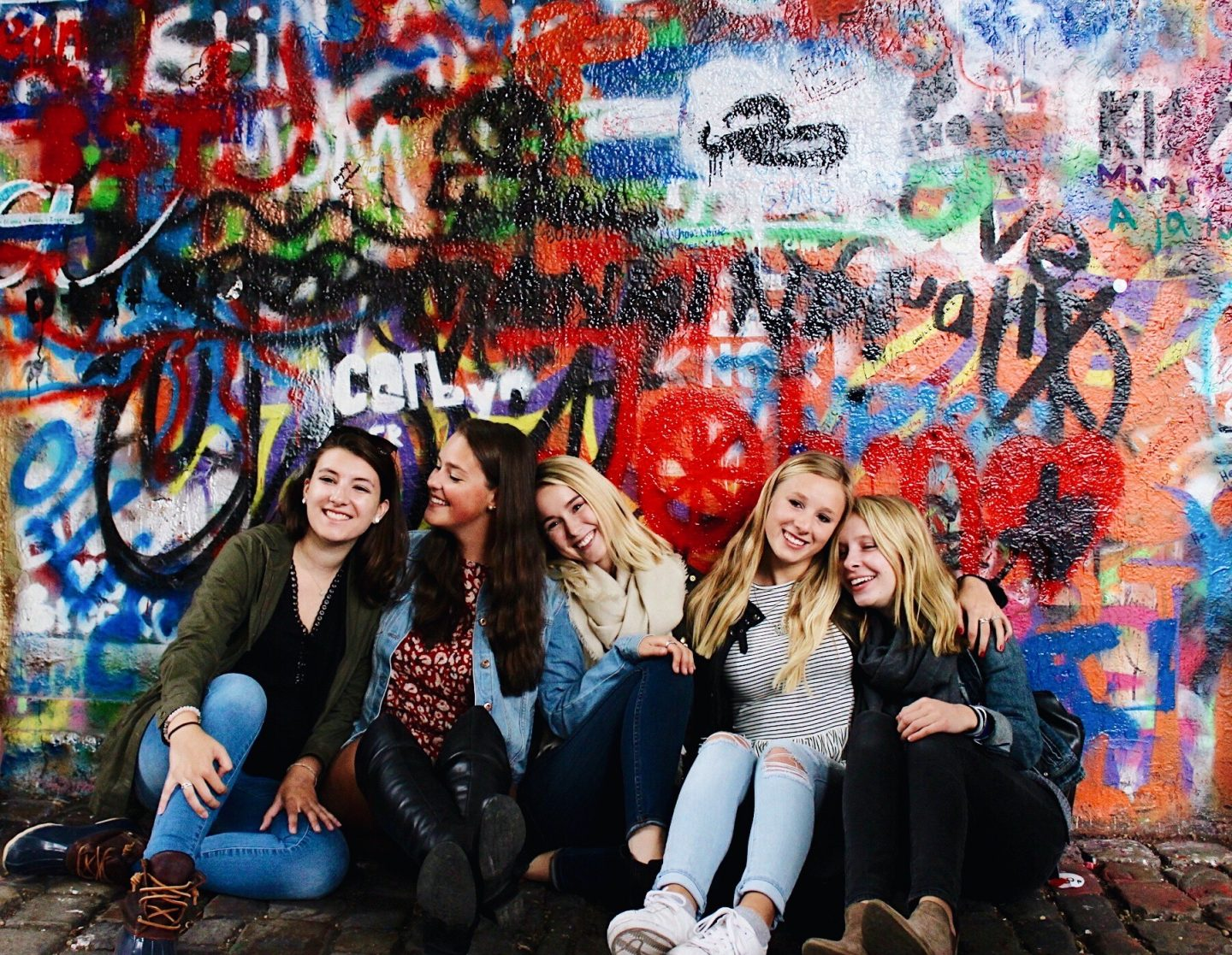 Posing in front of the John Lennon Wall in Prague!