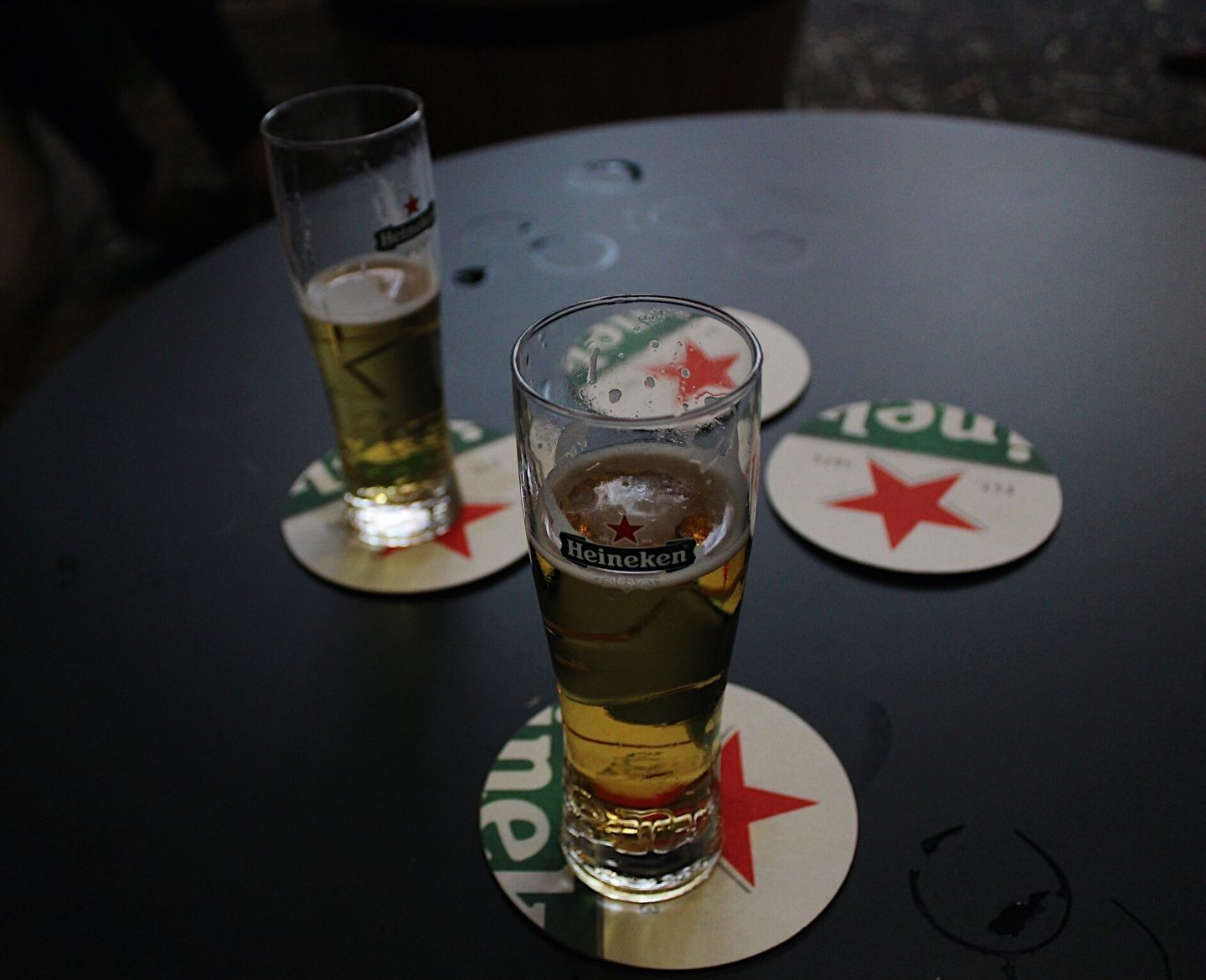 Trying Heineken beer after the tour!