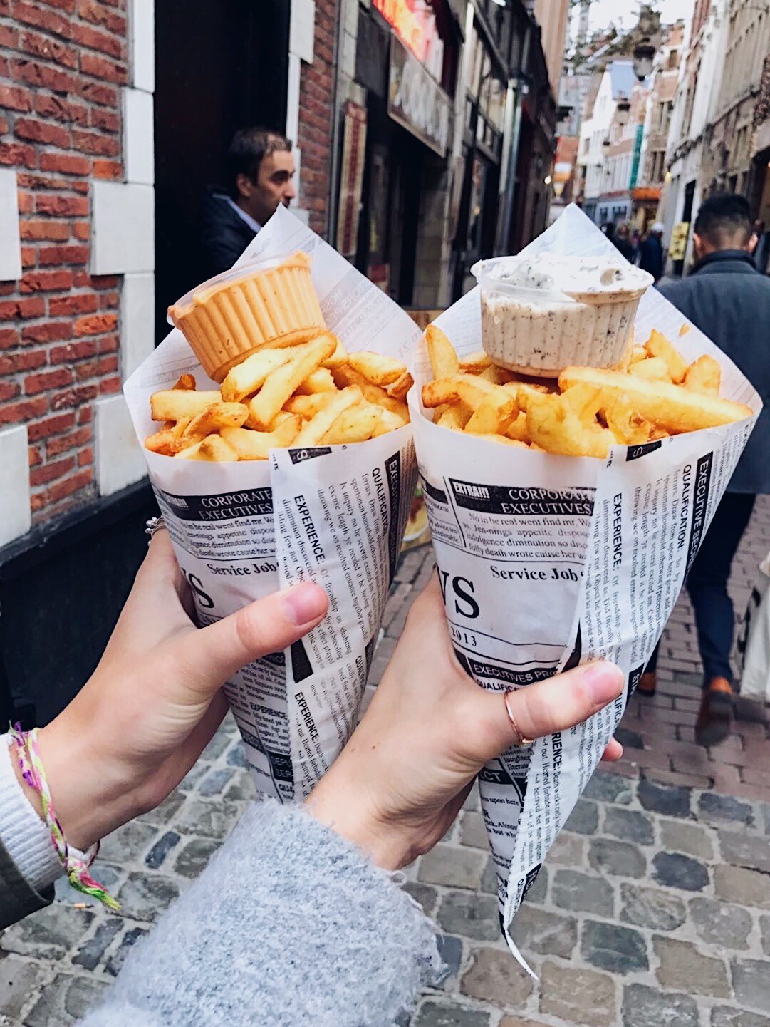 Eating fries in Brussels, Belgium!