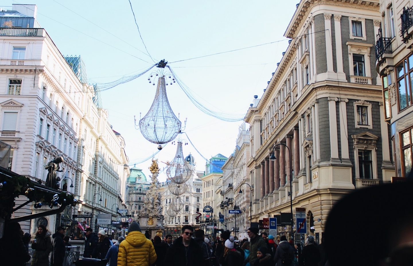 The main street in Vienna, Austria all decorated for Christmas!
