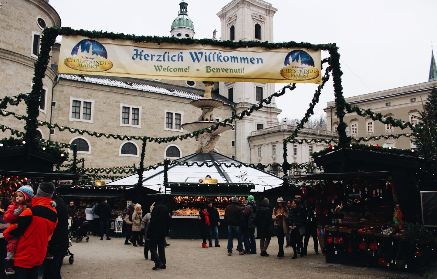 The entrance to a Christmas market in Salzburg, Austria!