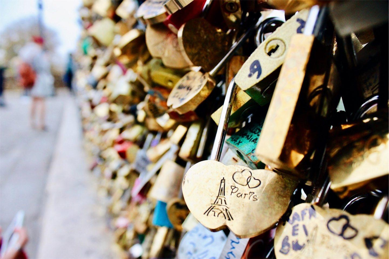 A photo of locks on Paris' famous lock bridge.