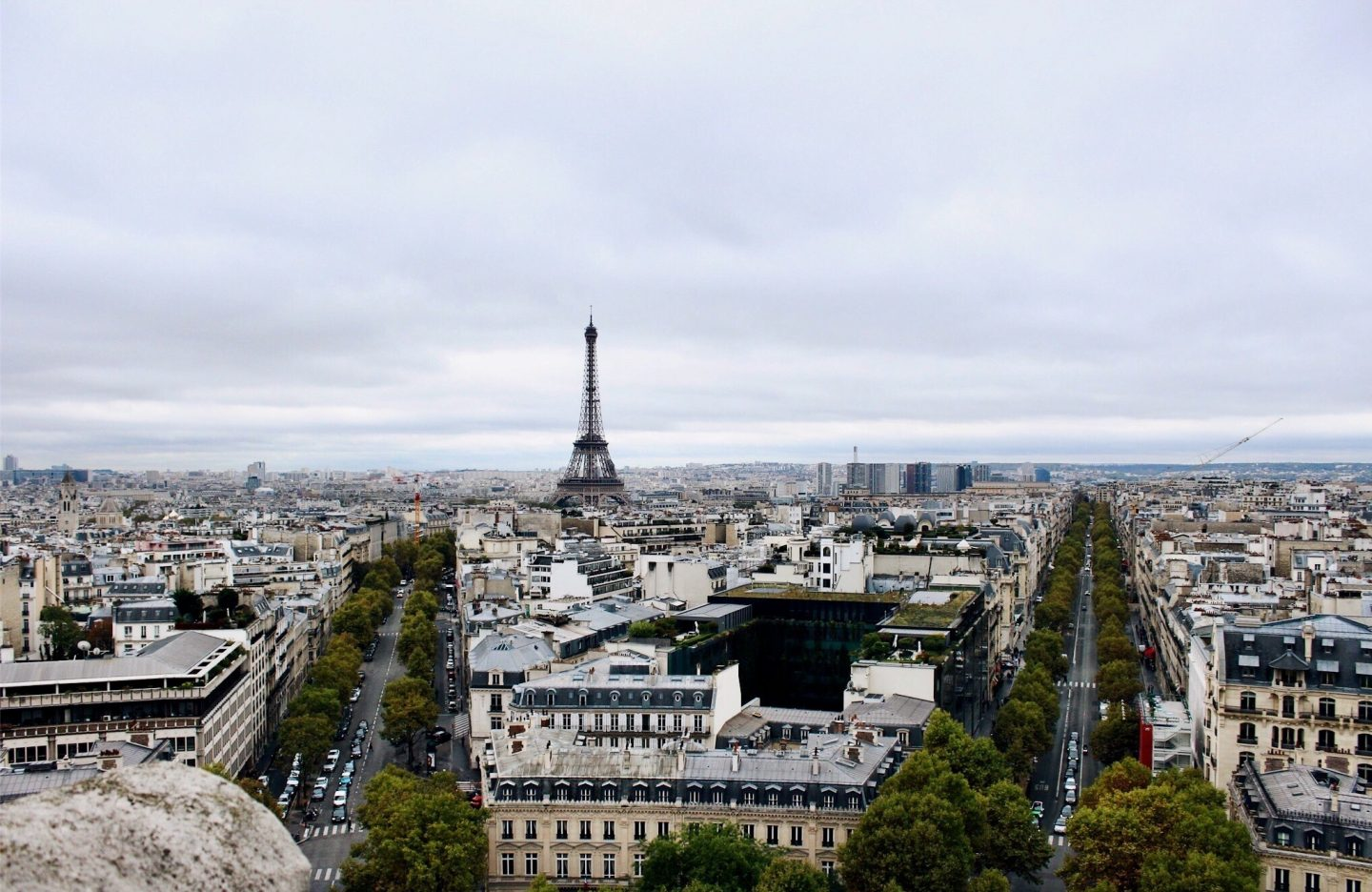 View of the Eiffel Tower from the top of the Arc de Triomphe!