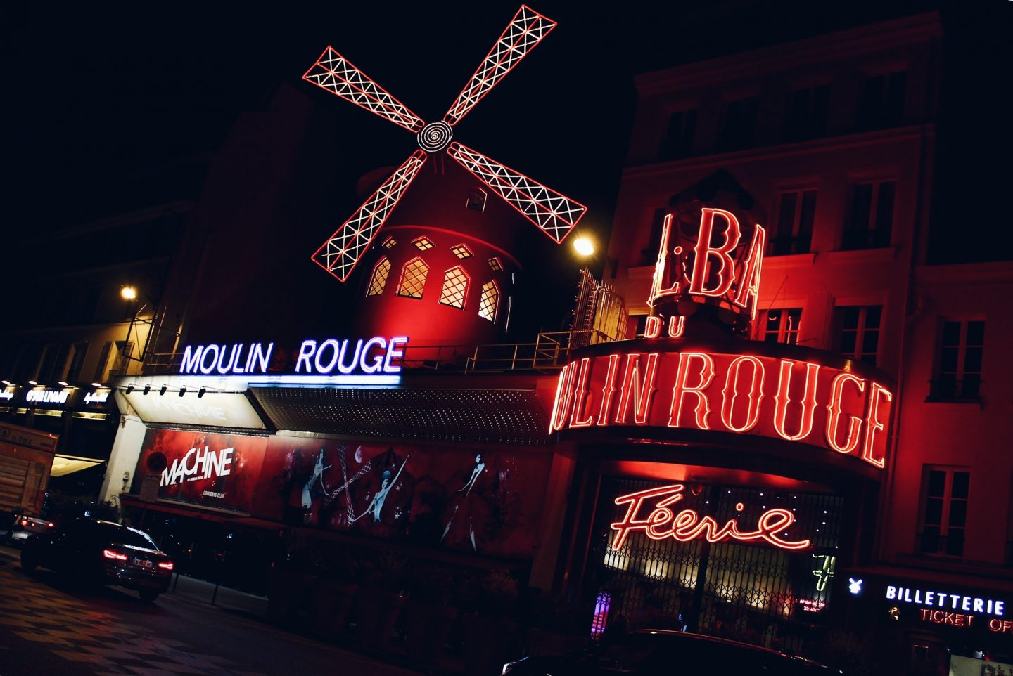 Visiting the Moulin Rouge theater during a weekend trip to Paris, France!