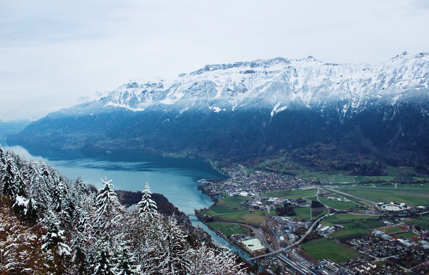The view from the top of Harderkulm Mountain in Interlaken, Switzerland!