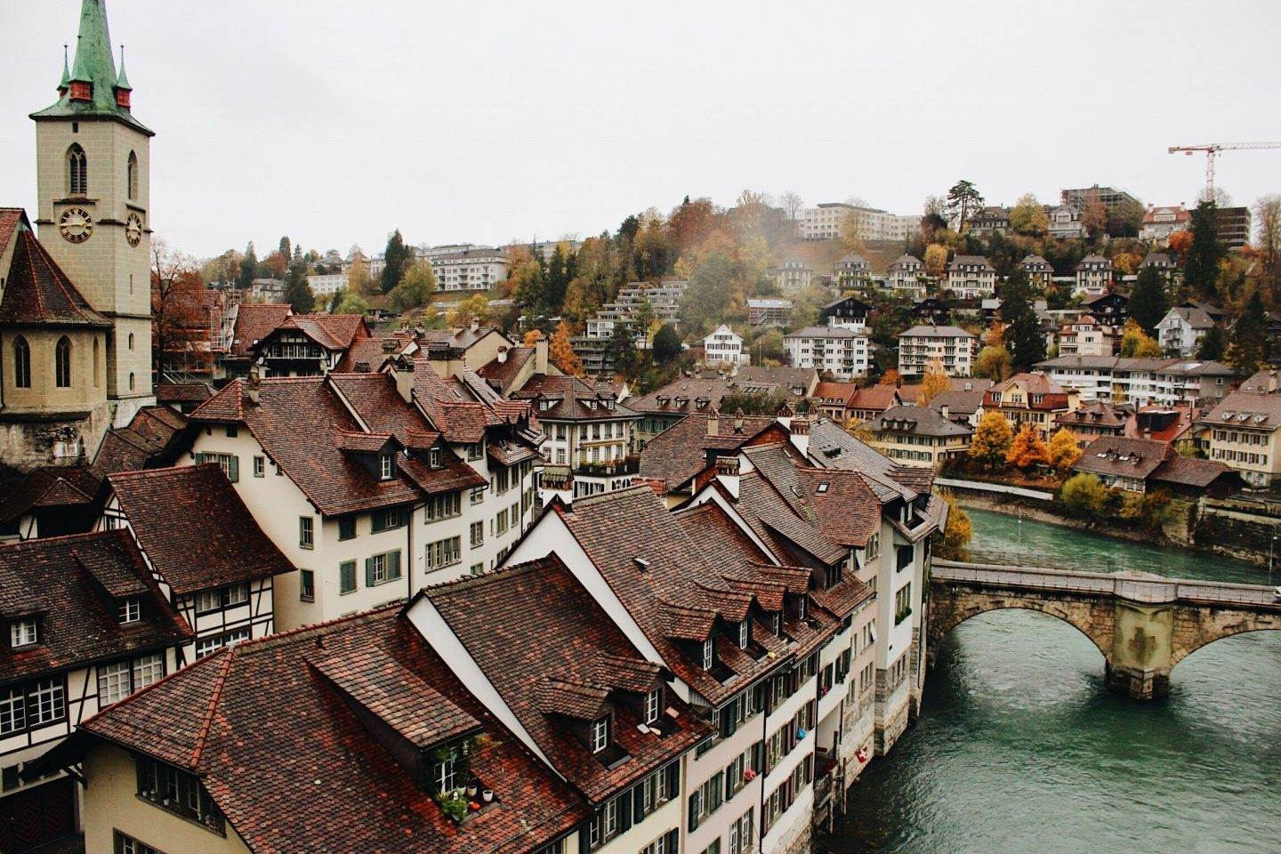Photo of Bern, Switzerland's old town and river.