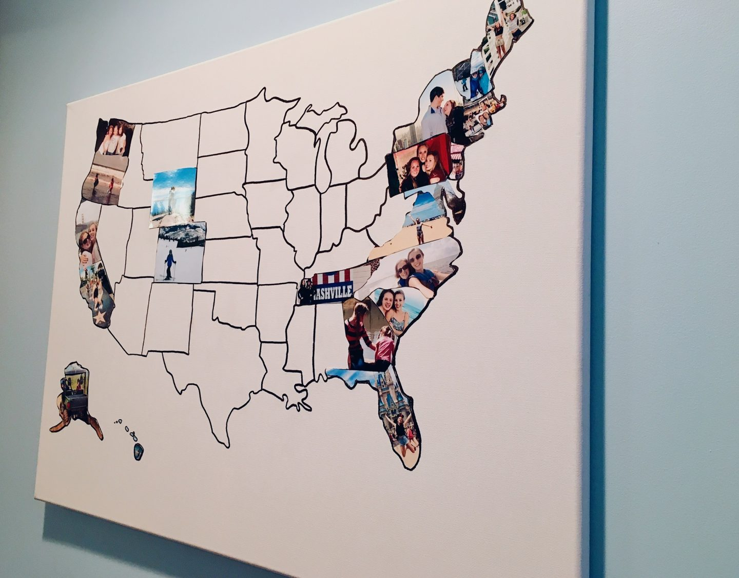 A map of the USA with photos in the states that I've visited.