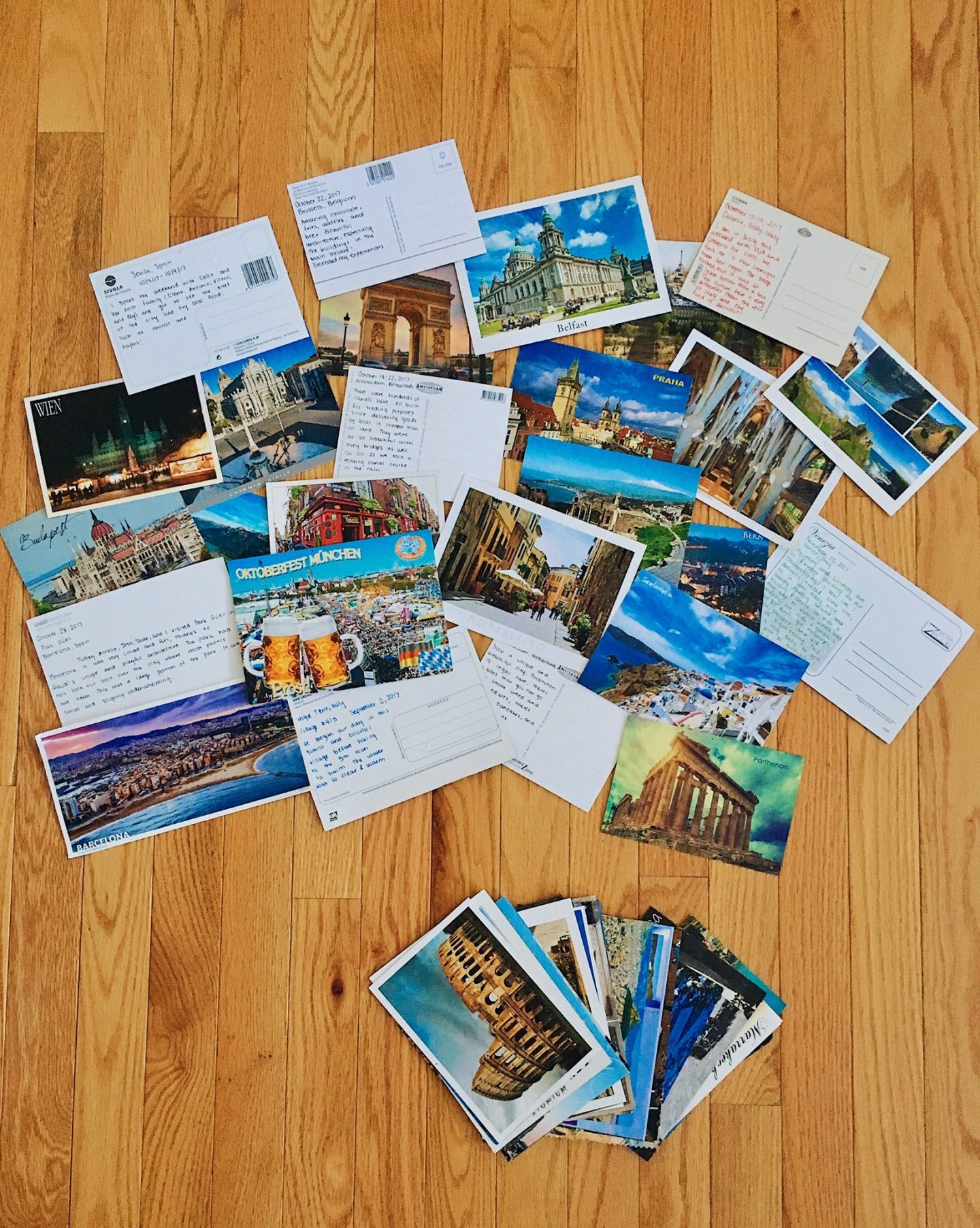 My postcards with handwritten messages on the back!