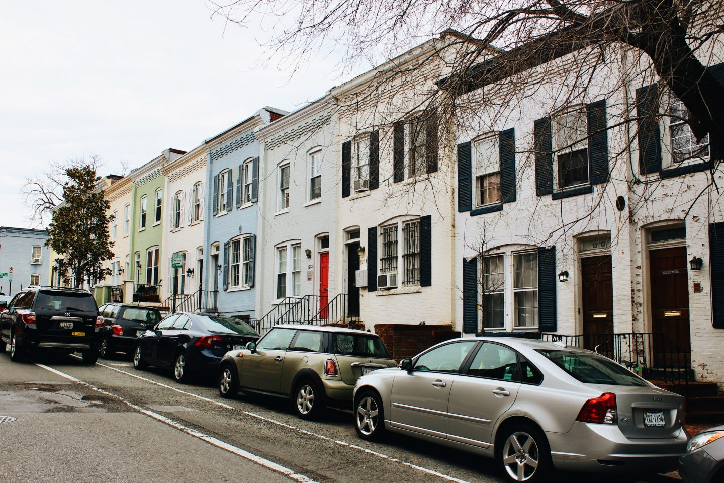 Colorful row homes in Alexandria, Virginia!