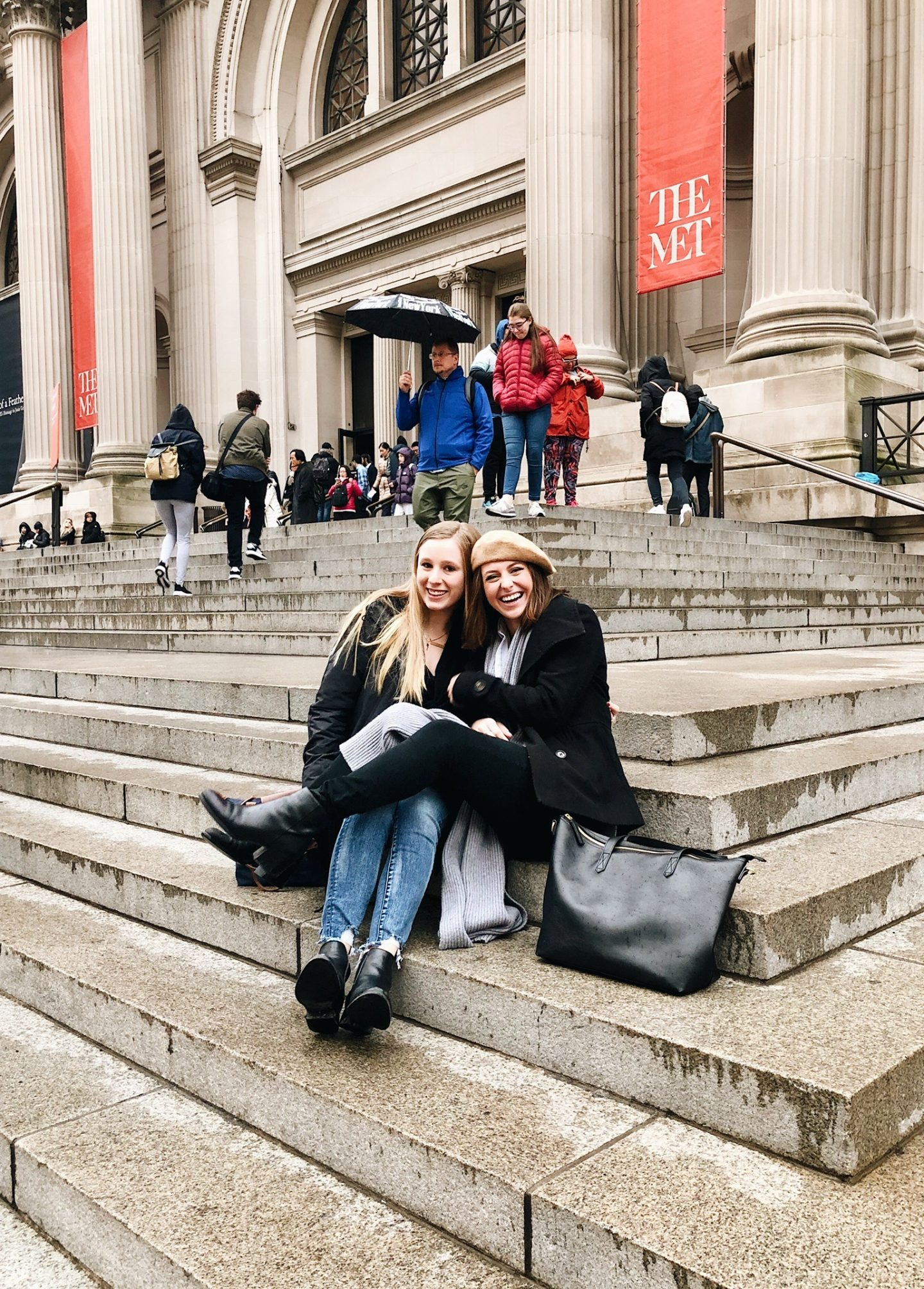 Sitting on the MET stairs with Irina in New York City!