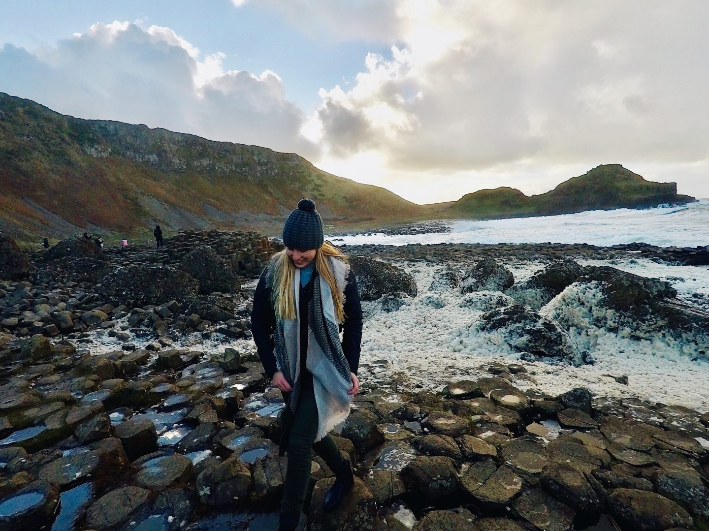 Exploring the rocks of Giant's Causeway in Northern Ireland!