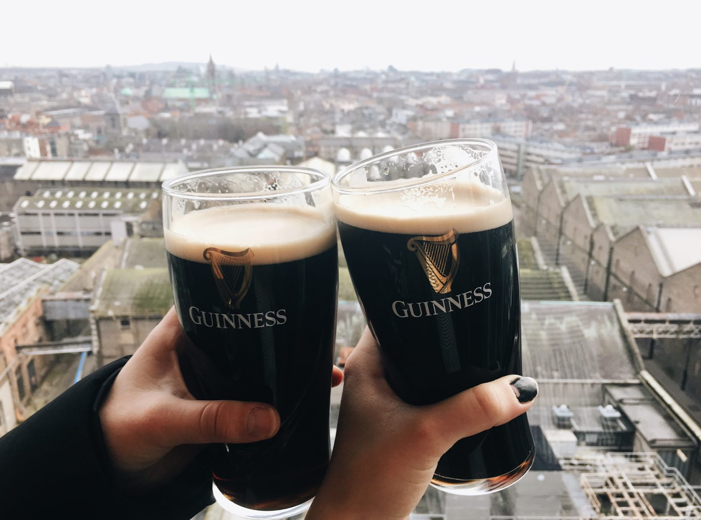 Enjoying pints of beer at the top of the Guinness Factory in Dublin!