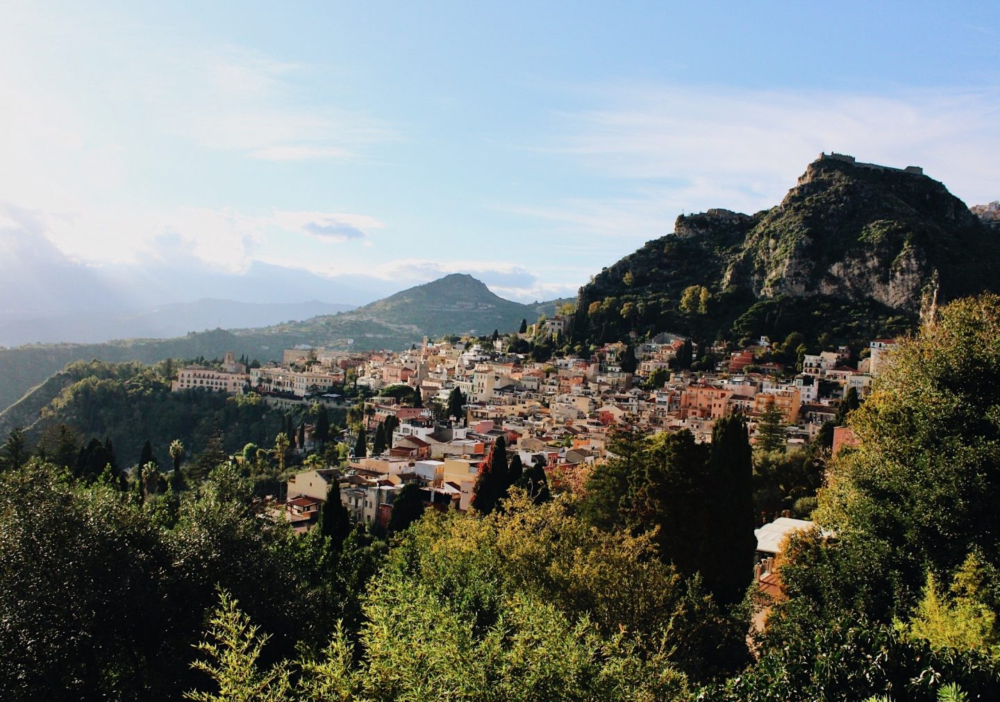 Photo looking down to Taormina, Sicily!