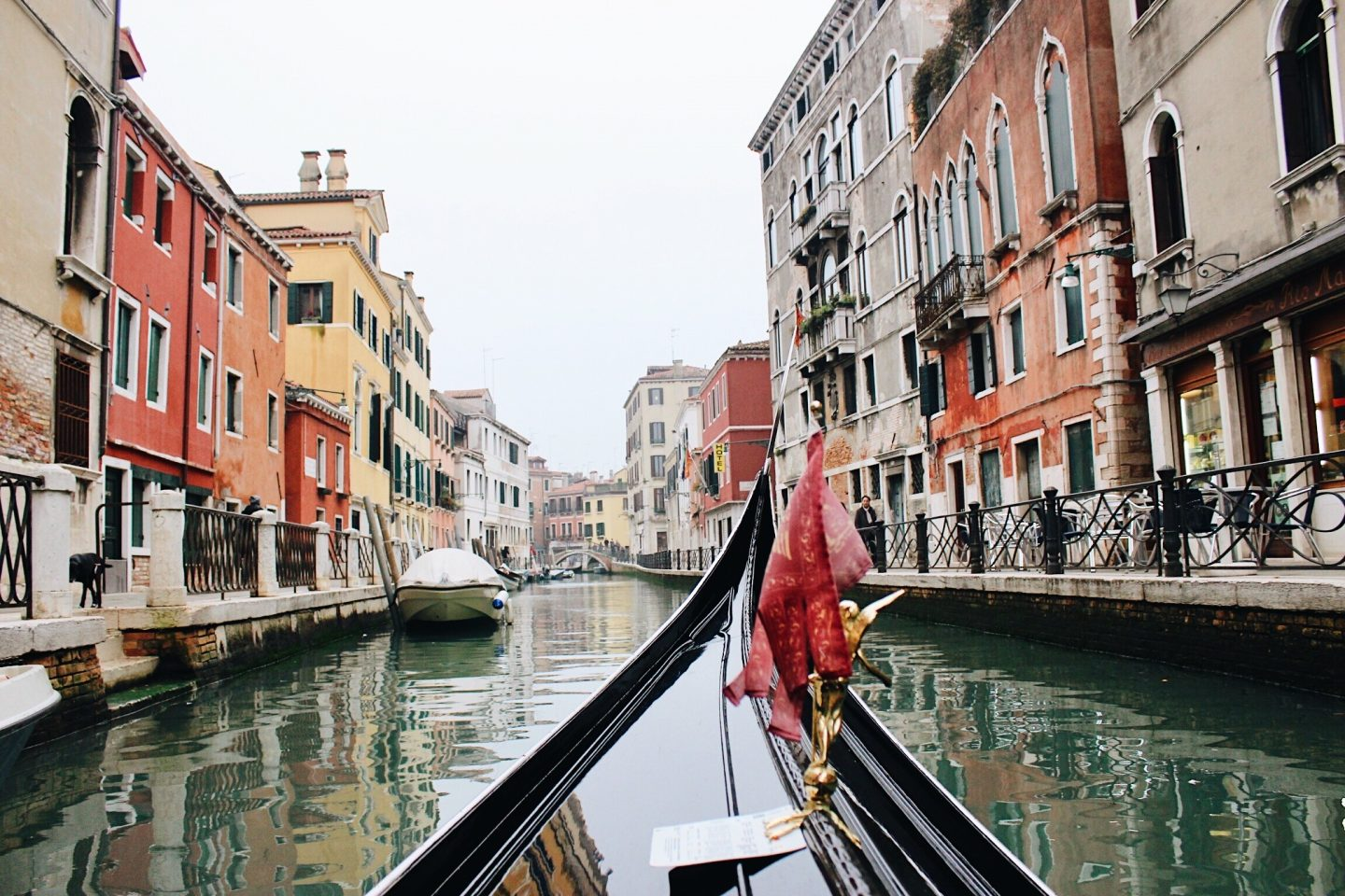 Photo from a gondola in the Venice canals