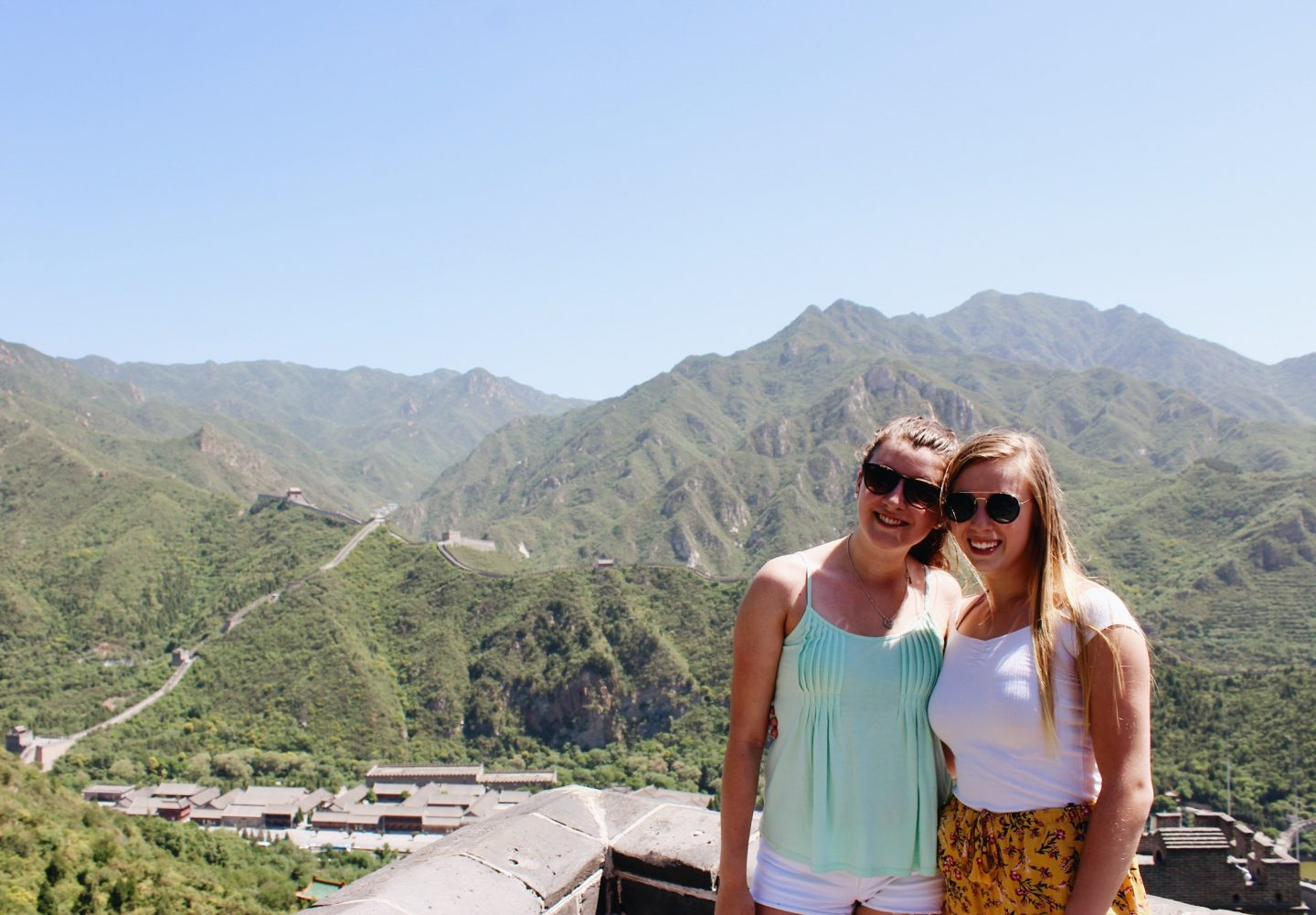 Posing on the Great Wall of China with my college friend, Amelia!