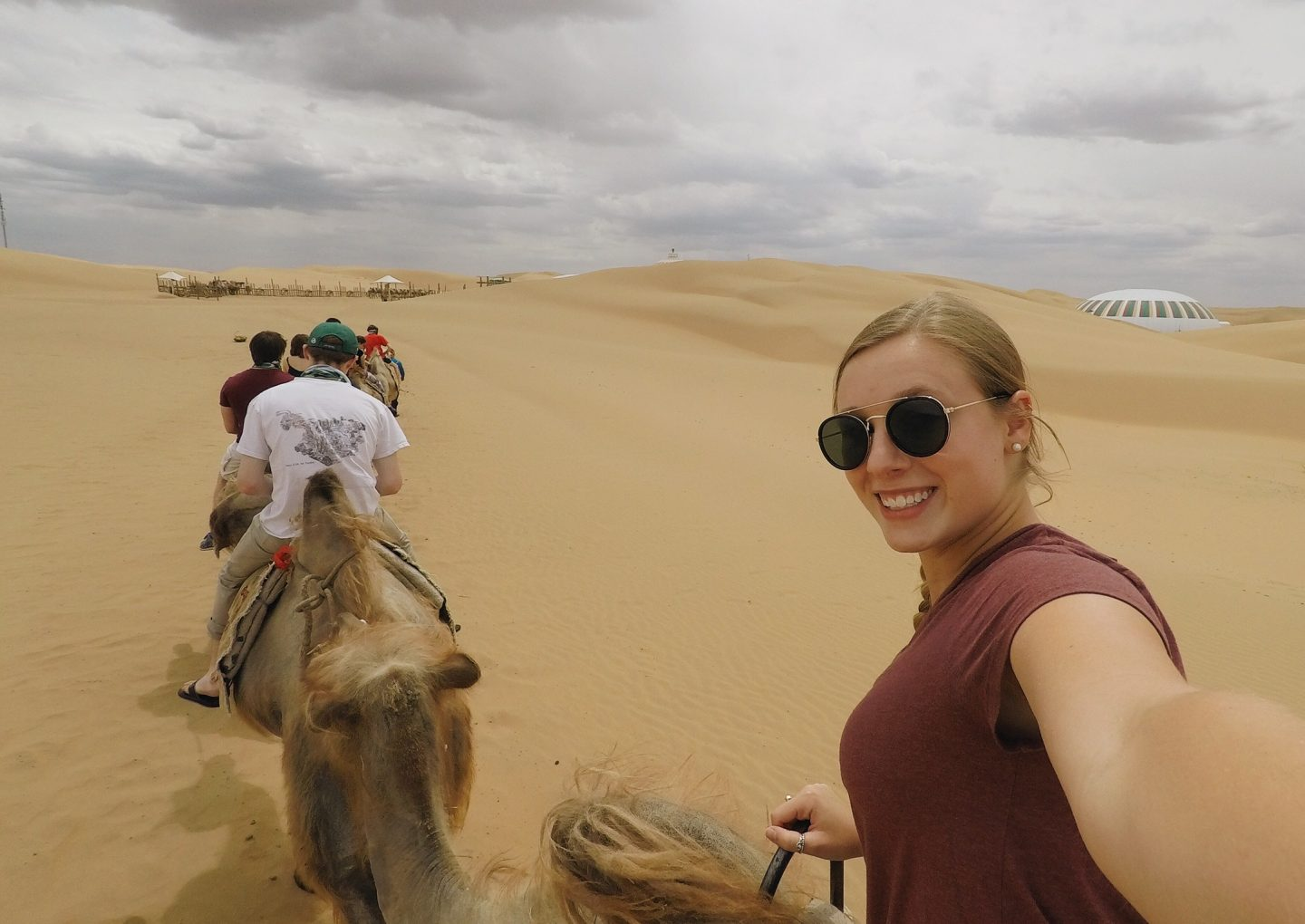 Riding camels in the desert in Inner Mongolia, China!