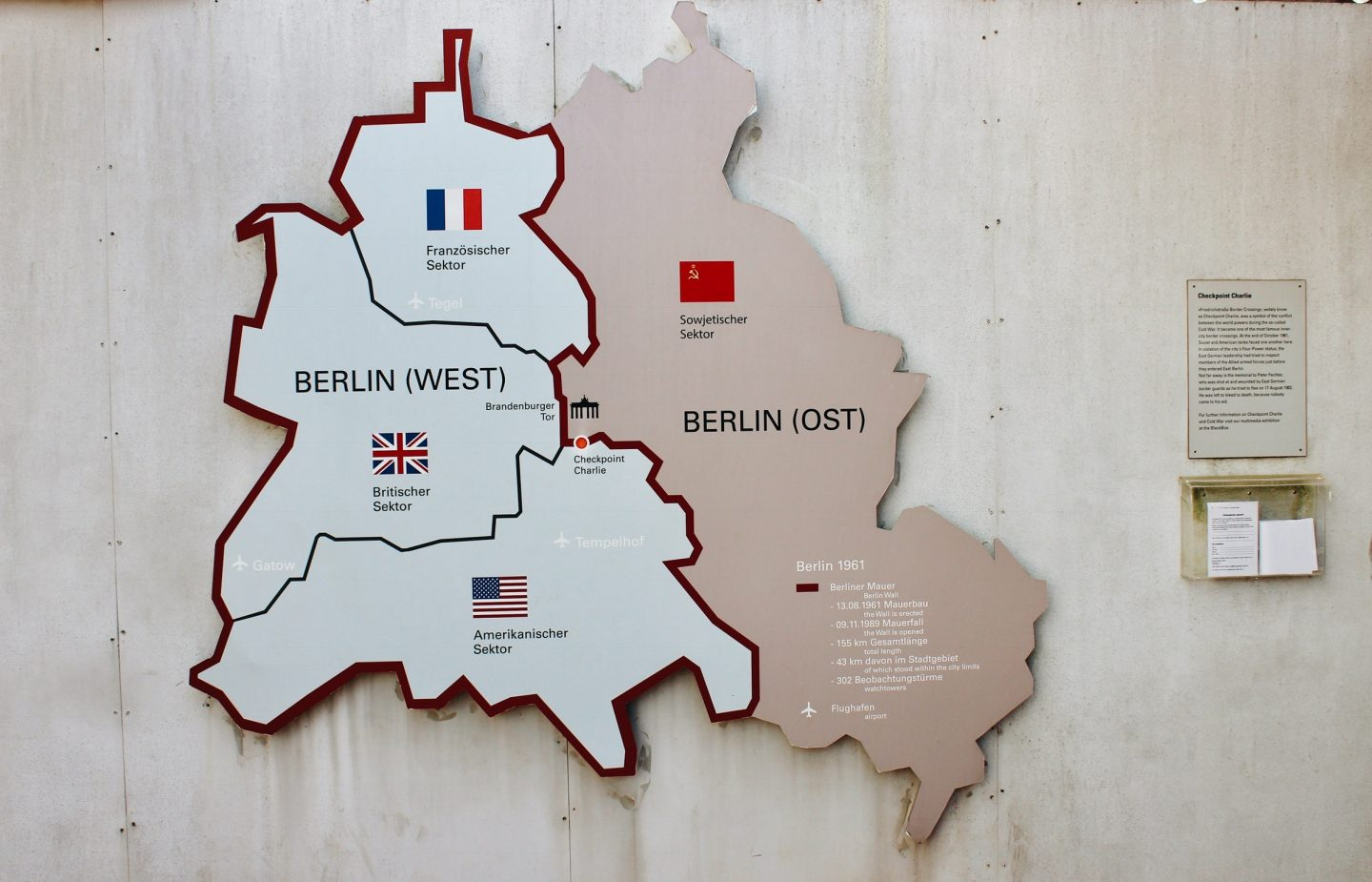 Map of East & West Berlin, Germany.