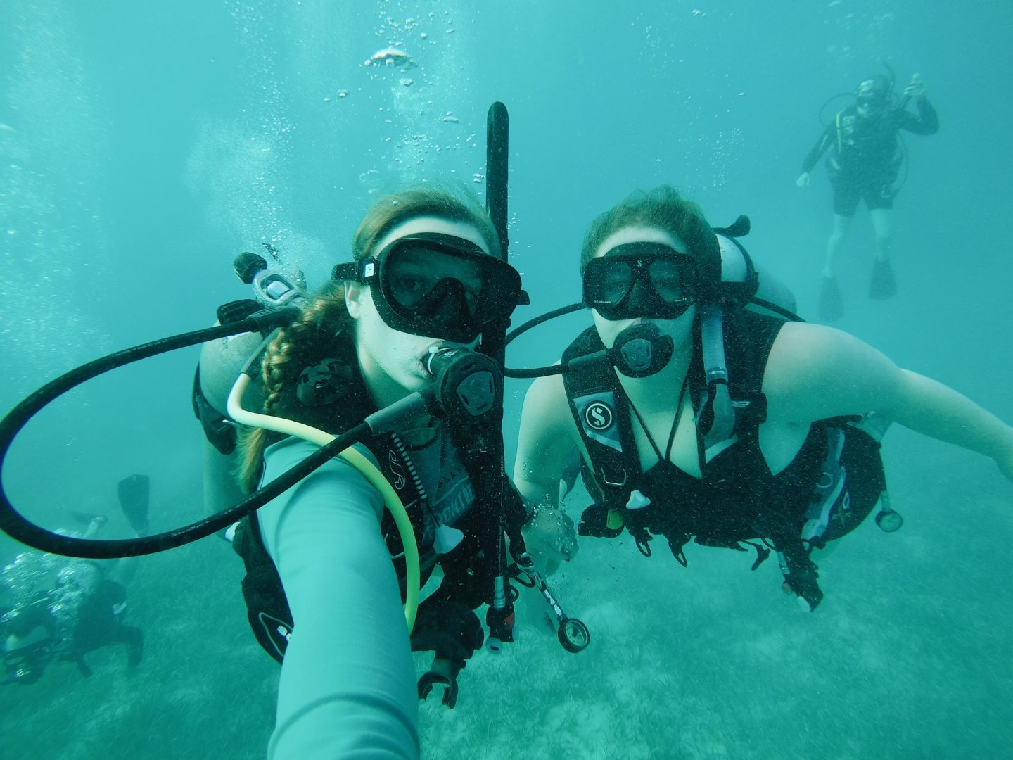 Scuba diving with my sister in the Cayman Islands!