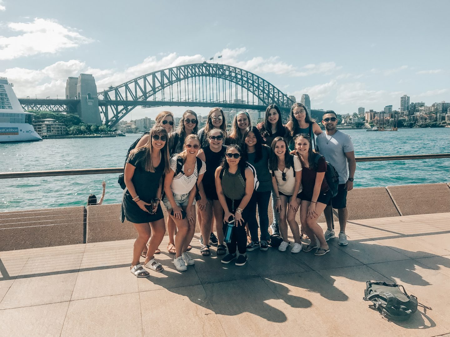 Posing in front of the Sydney Harbor bridge with my study abroad group!