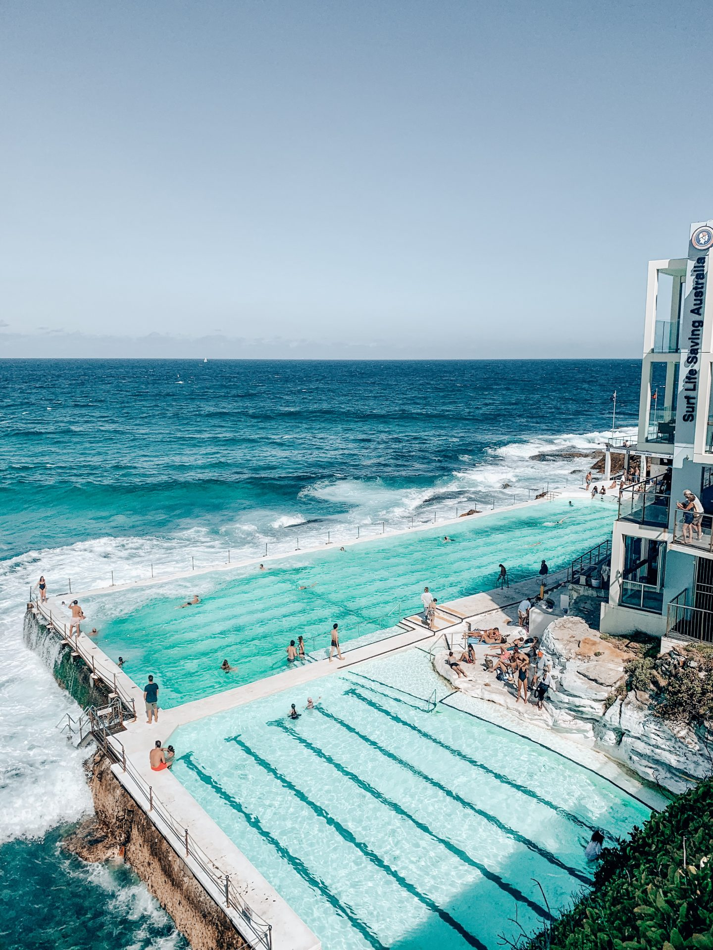 View of Bondi Beach's famous Iceberg Pools on a beautiful, sunny day!