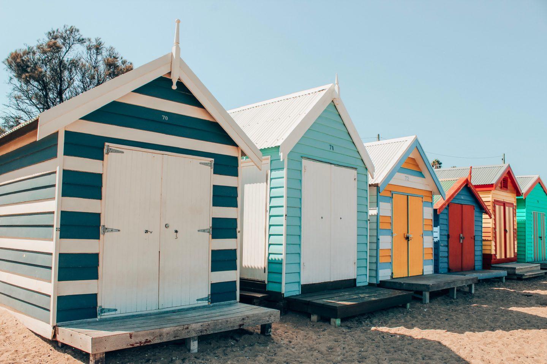 Colorful row of Brighton Beach boxes