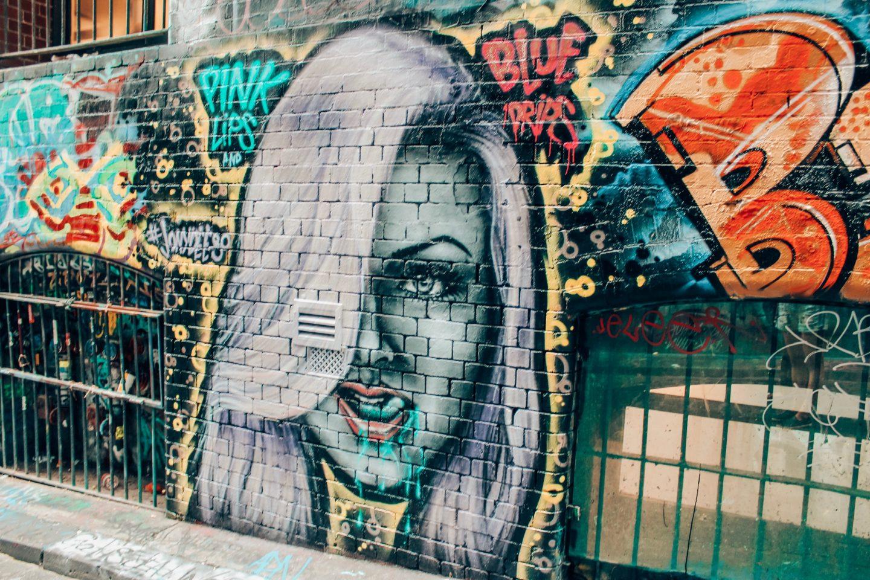 Famous Melbourne graffiti art on Hozier Lane!