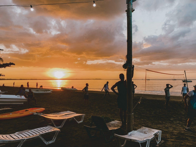 Fijian sunset from our hostel's beach.