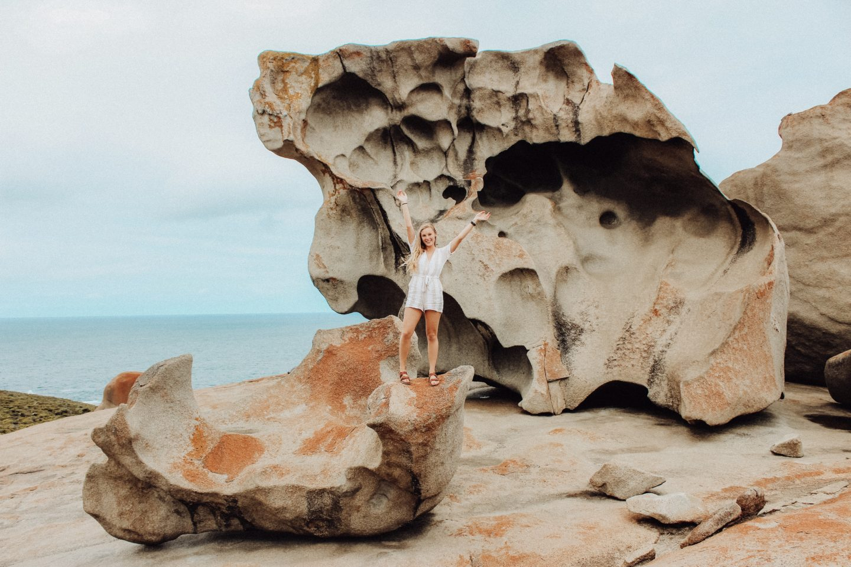 Posing on the Remarkable Rocks on Kangaroo Island!