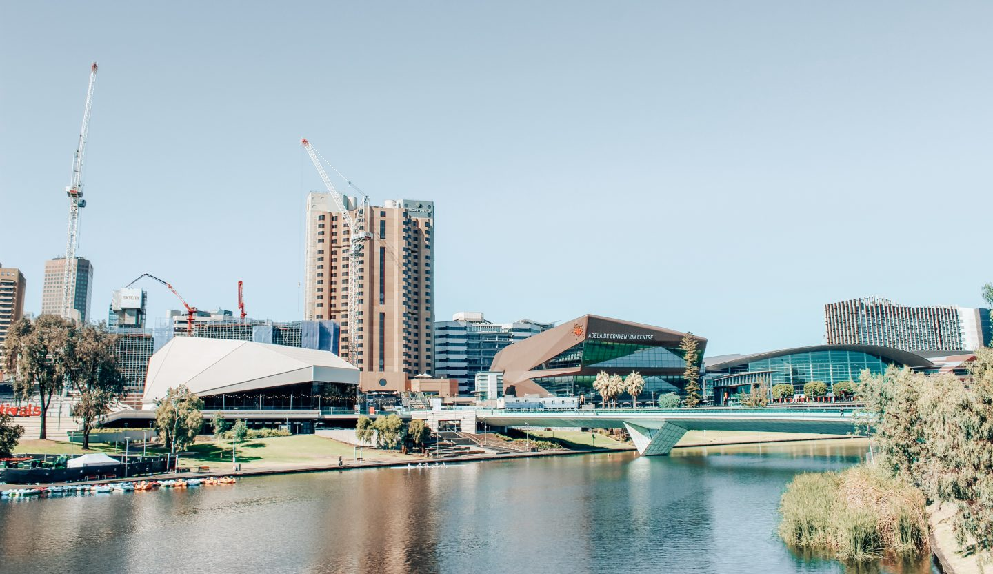 View looking at River Torrens and Adelaide's skyline in South Australia!
