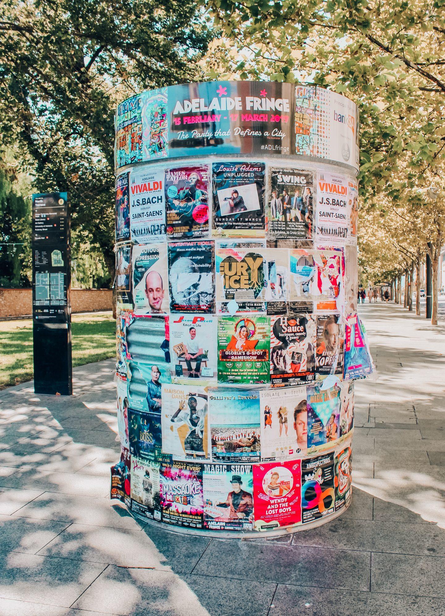 Advertisements for Adelaide's Fringe Festival.