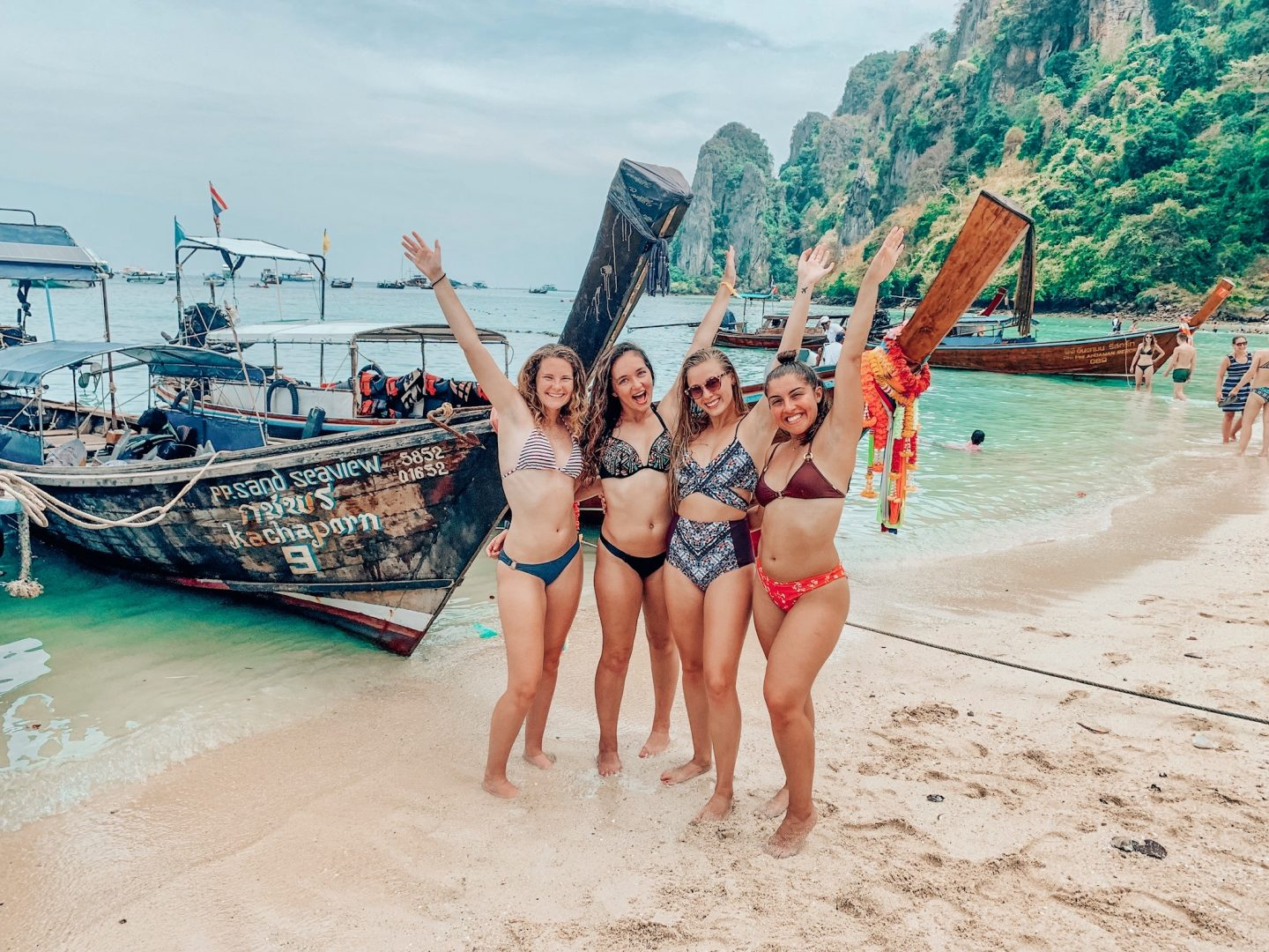 Enjoying the beach during our day trip to the Phi Phi Islands!