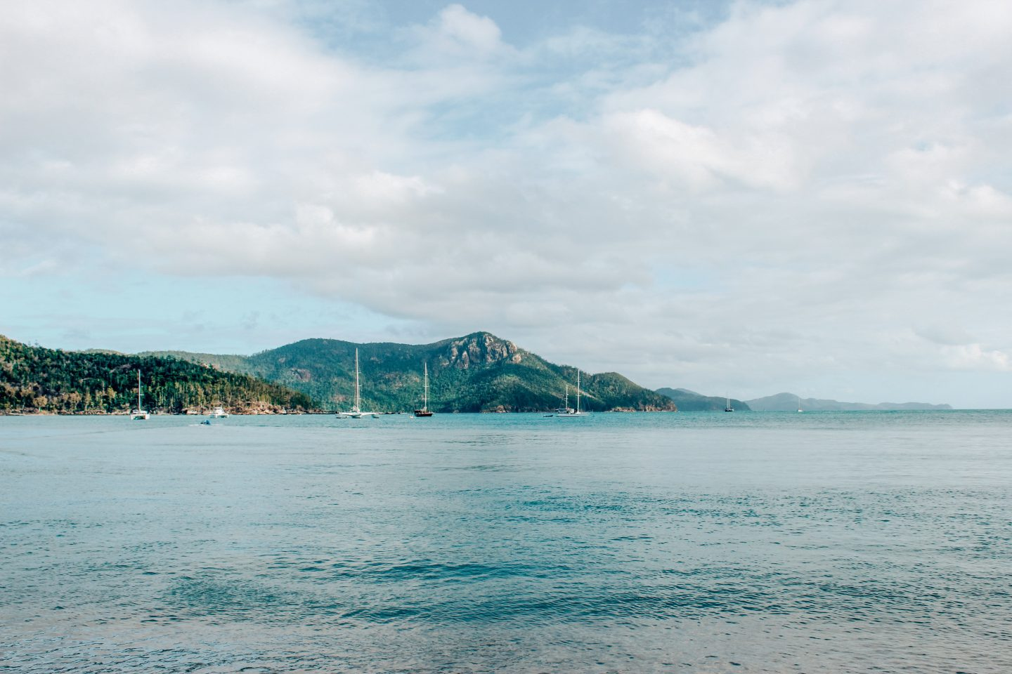 View of the Whitsunday Islands from Airlie Beach, Queensland.