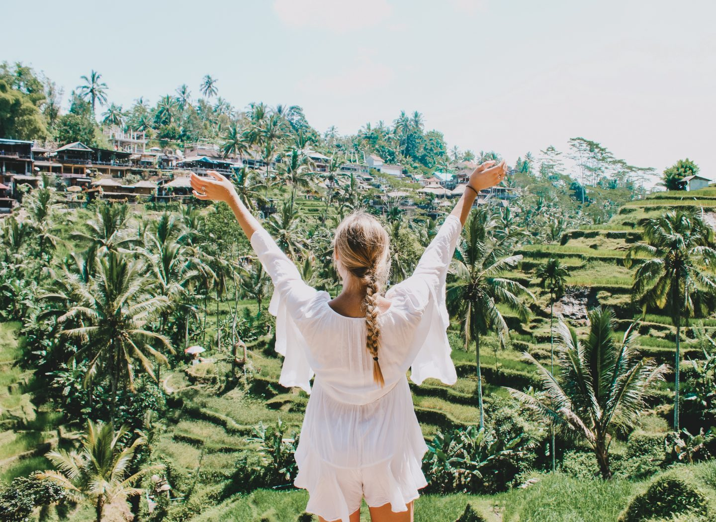 Posing overlooking the rice terraces in Ubud, Bali!