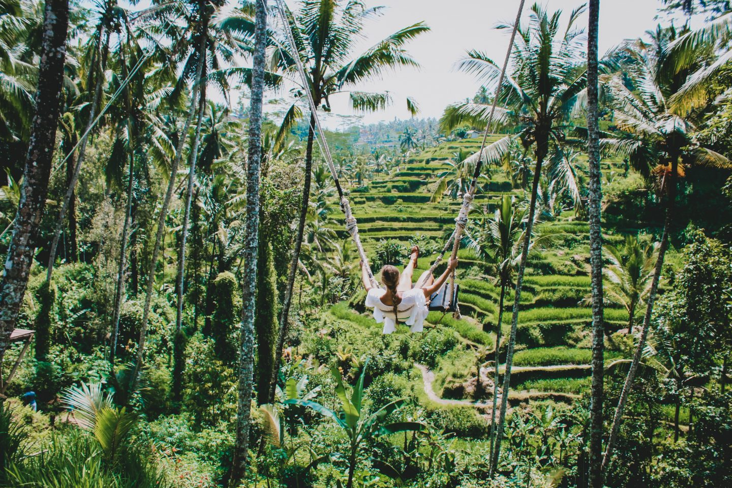 Swinging over the rice terraces in Ubud, Bali!