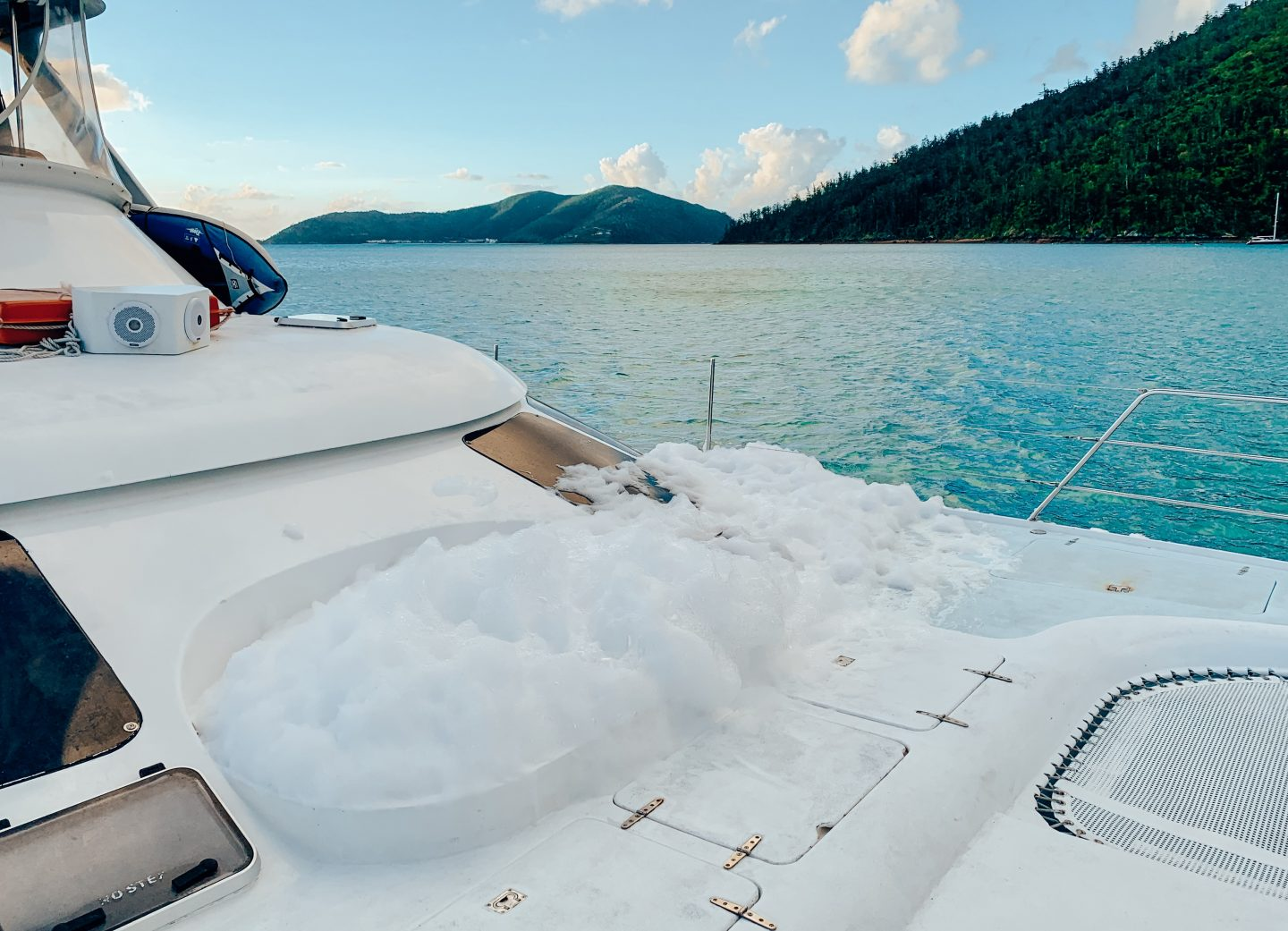 Sitting in a hot tub on our catamaran while sailing the Whitsunday Islands!