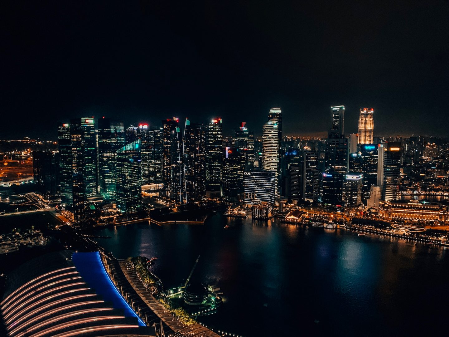 View of Singapore from the top of Marina Bay Sands' observation deck!