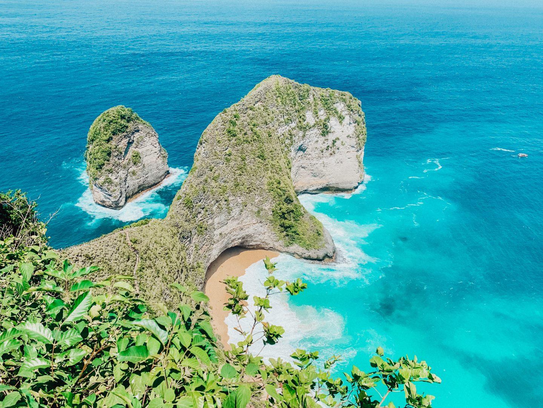 View looking down to Klingking Beach on Nusa Penida Island