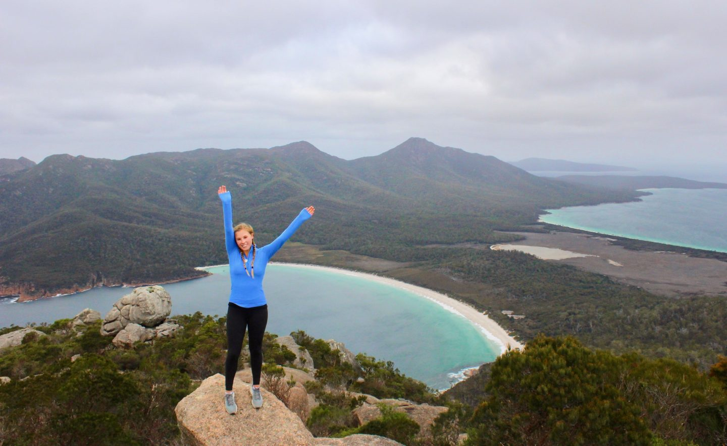 Hiking to the top of Mt. Amos overlooking Wineglass Bay in Tasmania!