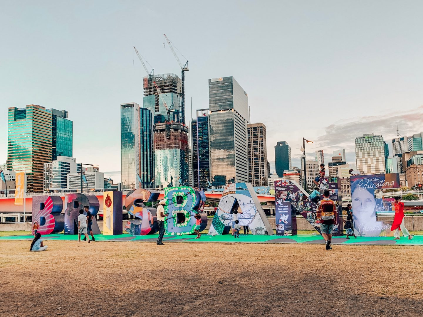 Famous Brisbane sign in Southbank with the skyline in the background.