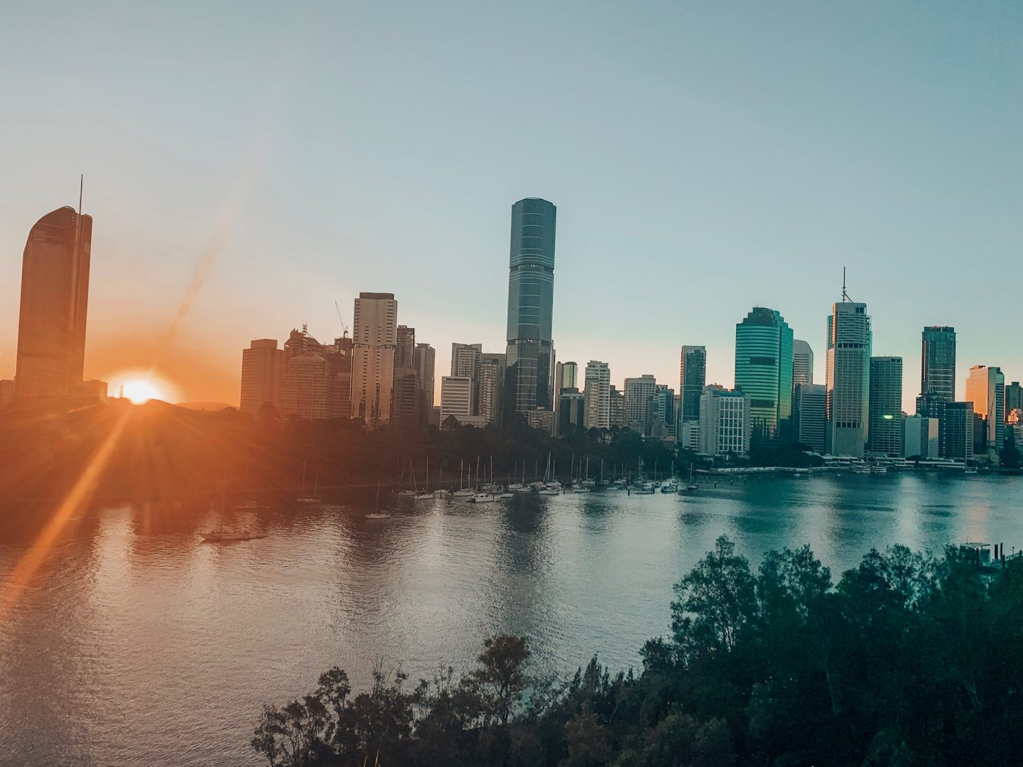 Sunset overlooking the Brisbane skyline at Kangaroo Point.