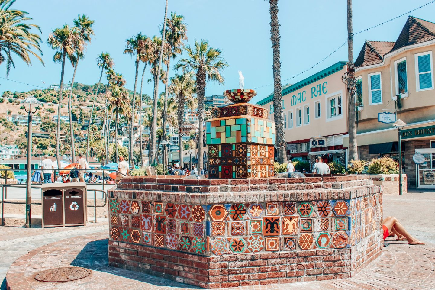 Catalina Island's downtown and famous tile fountain