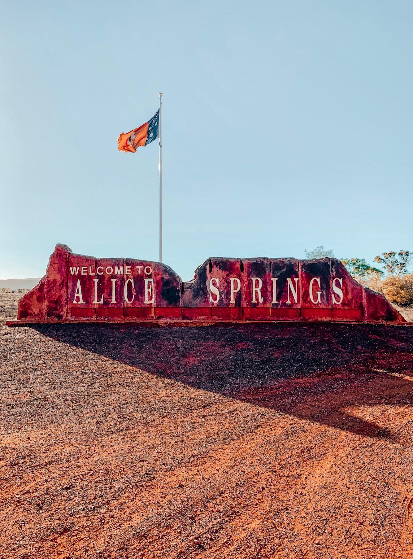Entrance to Alice Springs, Australia.