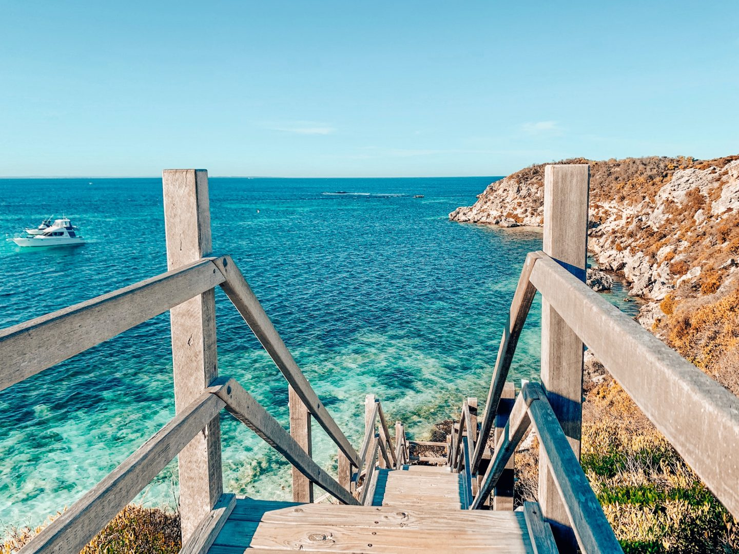Stairs leading down to a beautiful beach on Rottnest Island.