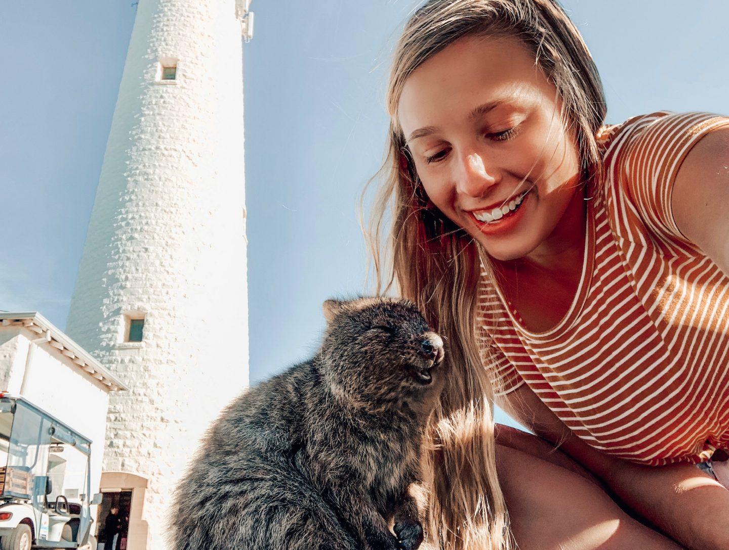 Posing with another quokka for a selfie on Rottnest Island!