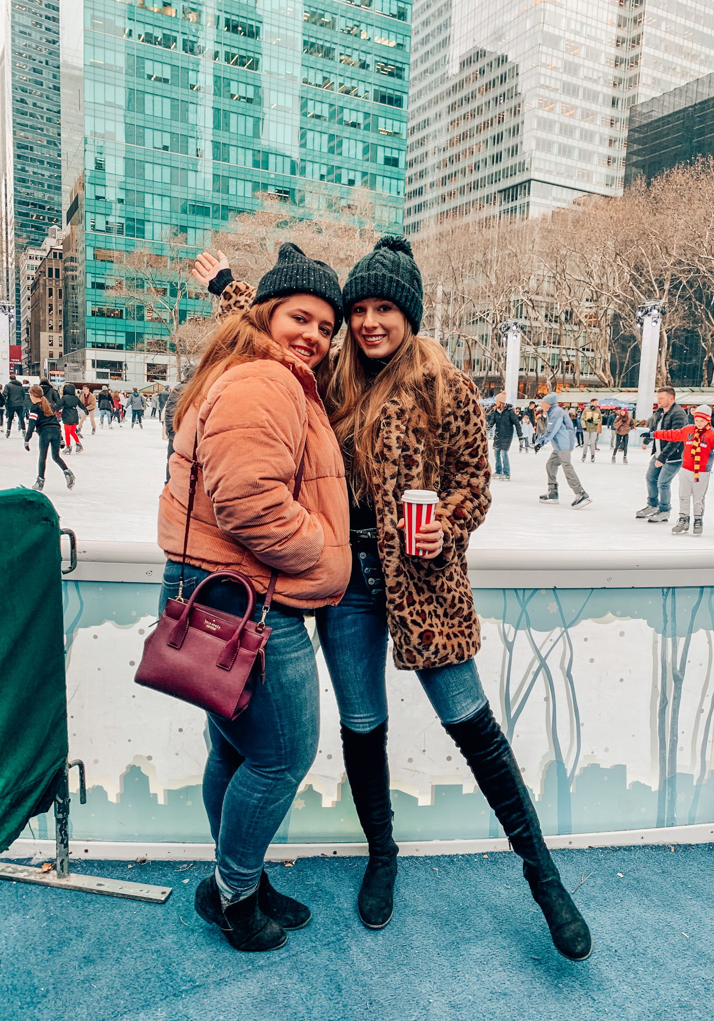 Drinking a hot chocolate and walking around the rink in Bryant Park with my sister!
