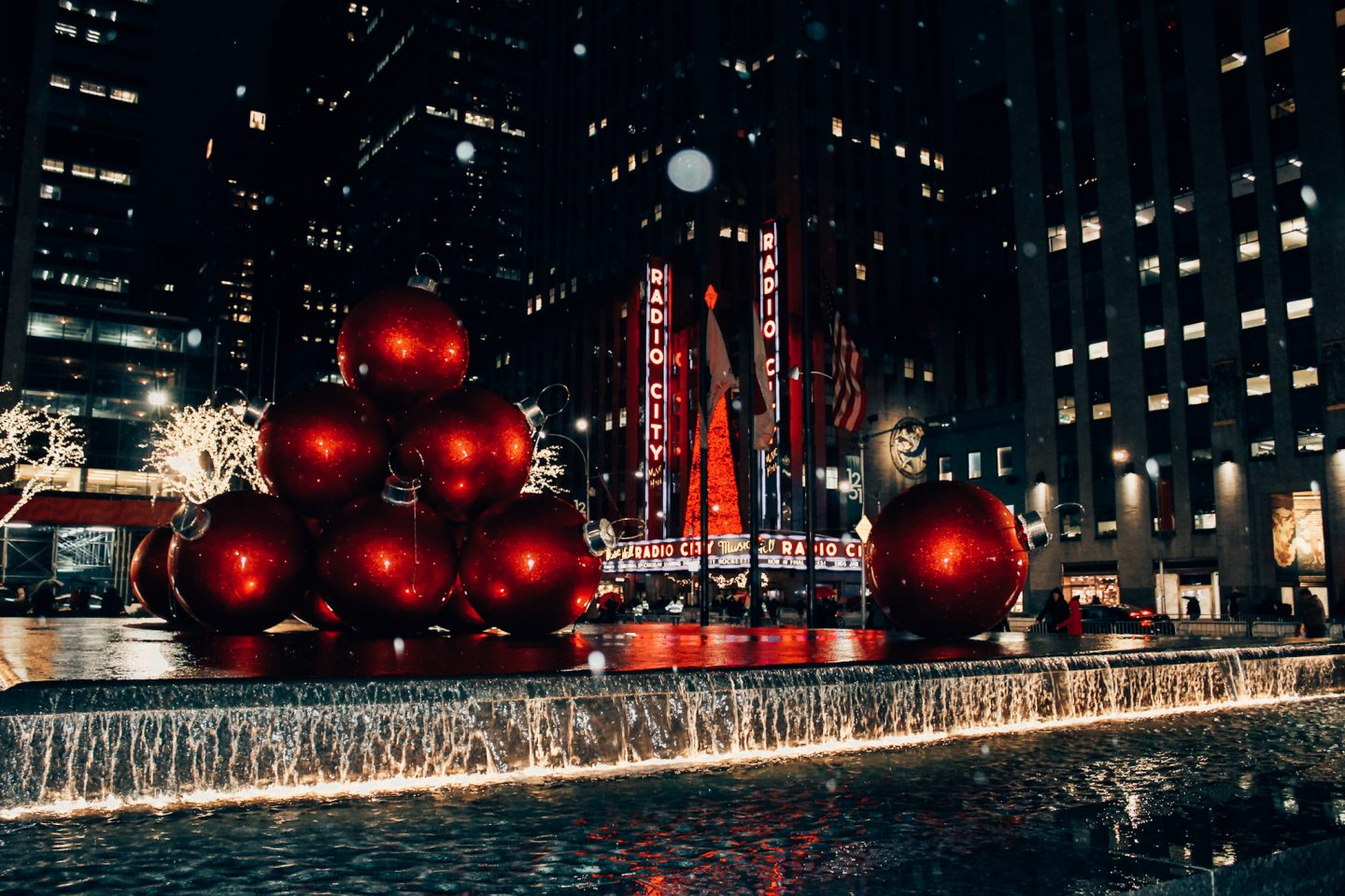 A view of the ornaments and Radio City Music Hall in NYC around the holidays!