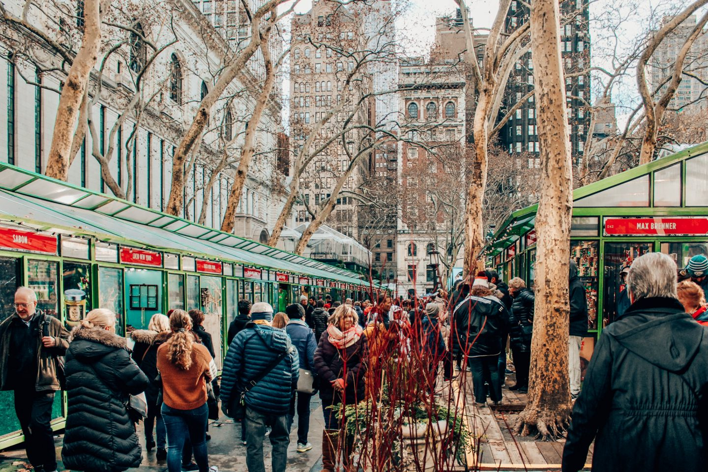 Shopping the Winter Village shops in Bryant Park!