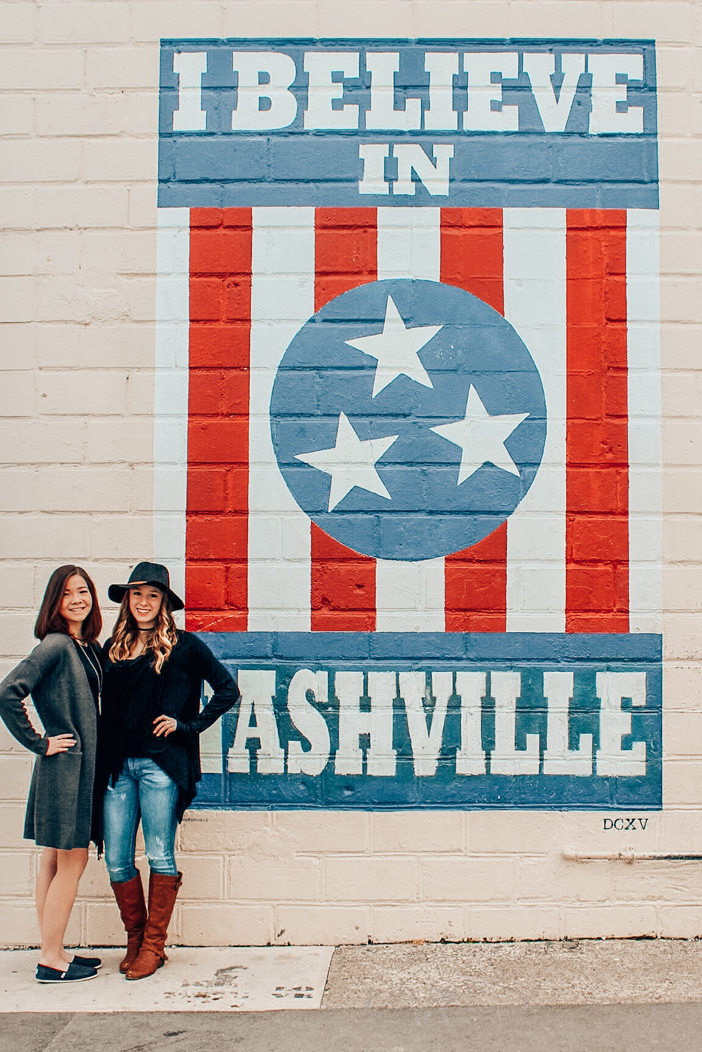 "Posing in front of the ""I believe in Nashville"" mural with Melinda!"