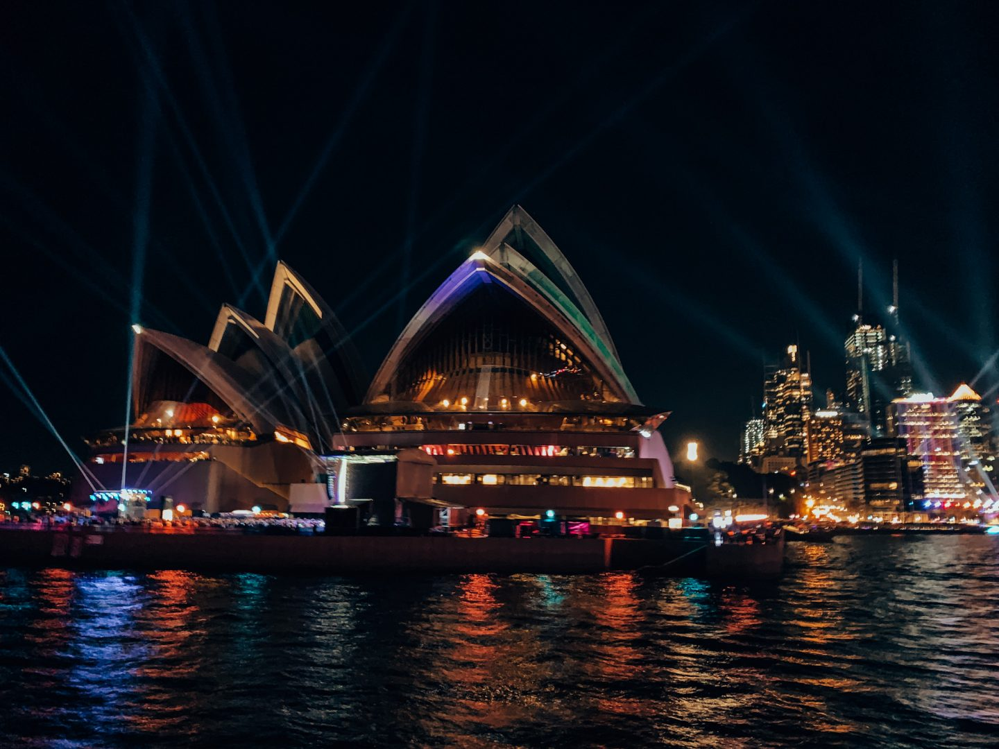 Sydney's Opera House and skyline lit up for Vivid!