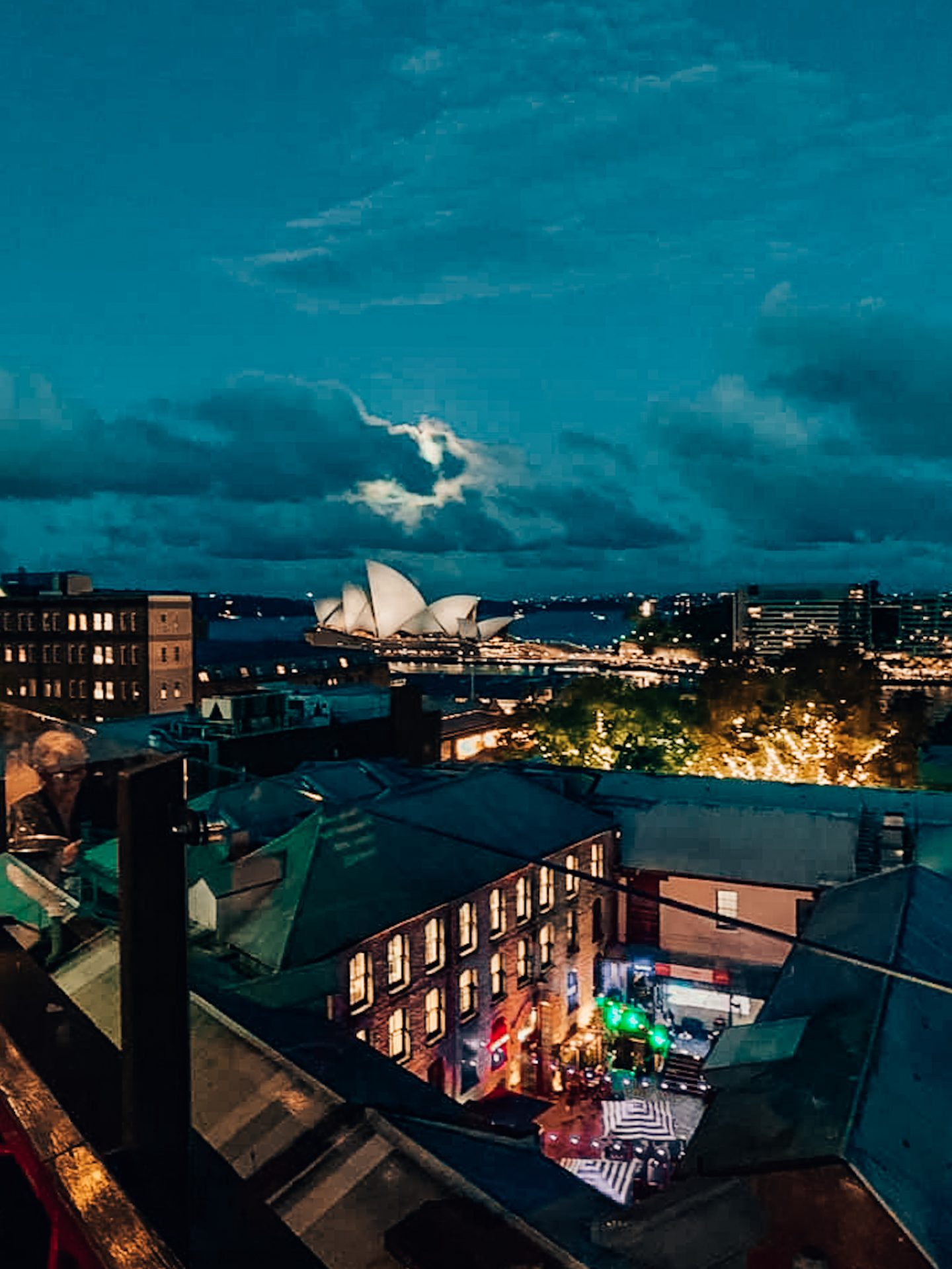 View of the Opera House and Sydney harbor from the Glenmore Hotel